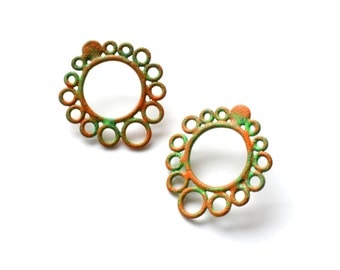 stud earrings powdercoated in green and orange, circle earrings hand made with recycled copper wire, perfect for all ages, SALE 50% OFF