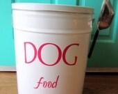 Pet Food Storage Tin Magenta Pink Lettering