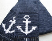 Anchor Scarf for Men. Navy blue, long knit scarf with crochet anchors.