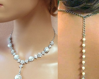 Bridal jewelry , Bridal back drop bib necklace, vintage inspired rhinestone pearl necklace bridal statement, bridesmaid jewelry