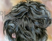 """Black RussianTerrier, AKC Non Sporting, Pet Portrait Dog Art Watercolor Painting Print, Picture Wall Art, Home Decor, """"Stalin's Dog"""" k9stein"""