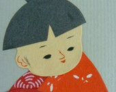 Japanese Paper Art - Boy and Lamp - Psalm 119:105