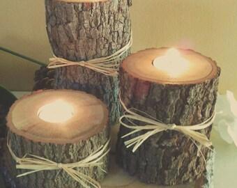"TREASURY ITEM -  Set of 9 -  (3"", 4"", 5"")   Tree branch Candleholders- Rustic Wedding - Cabin decor - Woodland decor - Holiday candles"