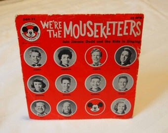 Mickey Mouse Club Record, We're the Mouseketeers Record, Vintage Walt Disney Productions,  Mouseketeers, Vinyl Record, Annette Funicello, 45