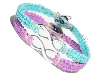 Infinity Bracelets, Couples Bracelets, Friendship Bracelets, Best Friend Bracelet, Matching Bracelet, Couples Gift, Set of 2 hemp bracelets,