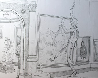 In the Gallery - Contemporary original pen and ink drawing