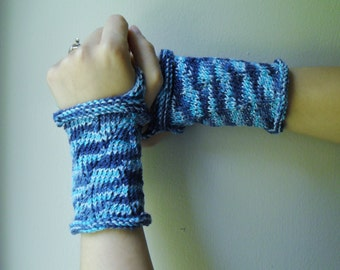 shades of blue wrist warmer/ fingerless gloves