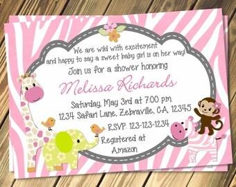 Pink Zebra Safari Baby Shower Invitation Print Your Own
