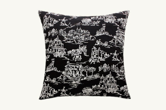 Black Decorative Pillow Cases : Decorative Pillow case Home Decor Black White Cotton fabric