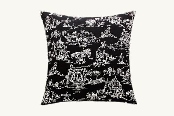 Decorative Pillow case Home Decor Black White Cotton fabric