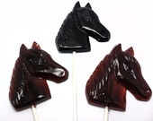 12 LARGE HORSE LOLLIPOPS - Any Color and Flavor