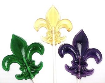 12 FLEUR De LIS Lollipops - Any Color and Flavor