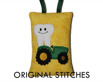 In The Hoop Tractor Tooth Fairy Pillow Machine Applique and Embroidery Digital Design File 4x4 5x7