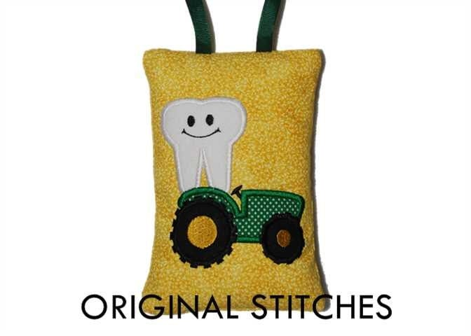 In the hoop tractor tooth fairy pillow machine applique and