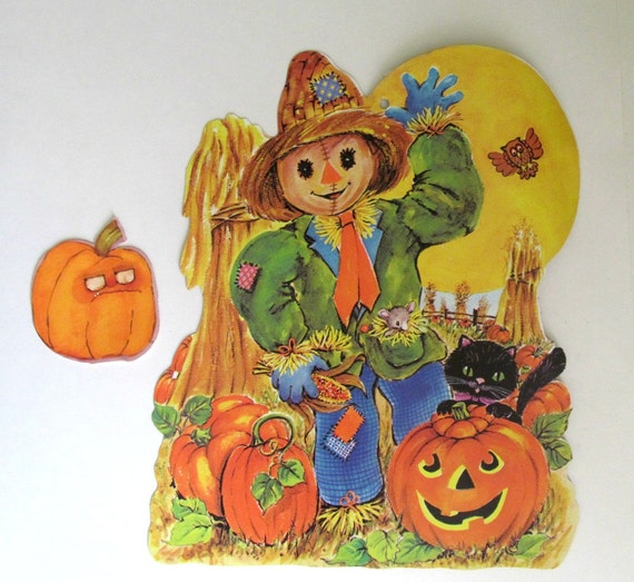 1970s vintage halloween die cut cardboard decorations Vintage halloween decorations uk