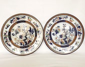 Two antique Victorian plates, Dresden pattern, by Pinder, Bourne & Co, England, 1870s