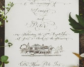 Hand Calligraphy Wedding Invitation - Hand Lettered design -  Invitation & Reception Card Artwork - With Custom Venue Illustration