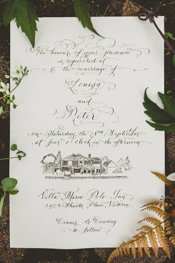 Hand Calligraphy Wedding Invitation Hand By