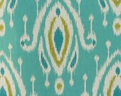Two 90 x 50 Custom LINED Curtain Panels with Hidden Back - Ikat Turquoise/White