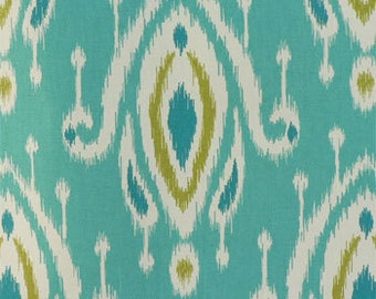 Two 20 x 20 Custom Pillow Covers - Ikat - Turquoise/ Lime Green