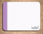 SALE - Hello - Purple Circles Greeting Notecards (set of 10)