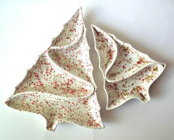 Vintage Ceramic Christmas Tree Serving Trays Atlantic Mold