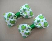 """St Pattys Hair Bows - Shamrock Hair Bows - Green Shamrock Bows - Pigtail Bows - Basic Bows - 3"""" Tuxedo Bows - Set of 2 - Baby Bows"""