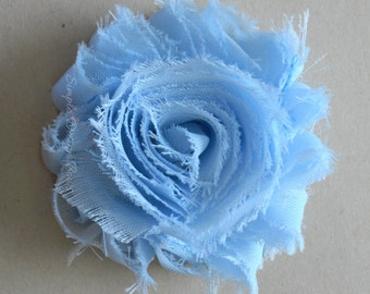 "Blue Hair Flower - Light Blue Flower Clip - 2 1/2"" Frayed Chiffon Flower - Shabby Chic Hair Flower - Hair Clip or Brooch - SOPHIE FLOWER"