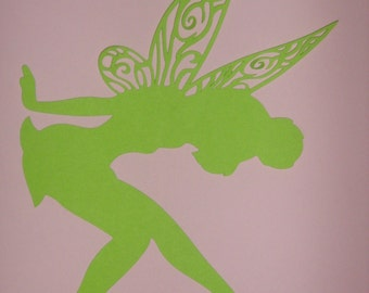 Tinkerbell silhouette, framed art, birthday party decorations, Peter Pan birthday
