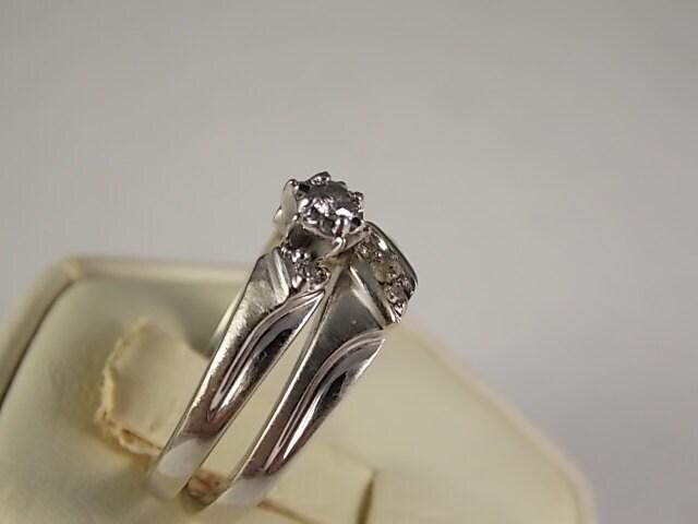 1960s Diamond Wedding Ring Set 15ctw White Gold 10k 4 6m Size