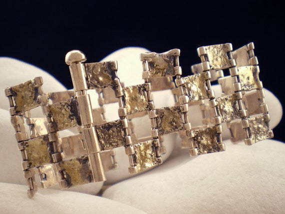 """Solid Sterling Silver Bracelet with 18K Gold - """"Sultana"""""""
