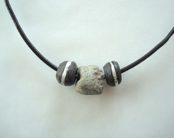 300 Year Old Granite African Hand-Forged Stone and Wooden Bead Necklace. Tribal Chic.