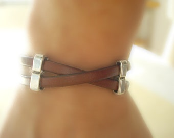 TAN. Men or Women's Leather Bracelet: Free Shipping. Genuine Leather, Silver-Plated  Pewter with Magnetic Clasp.