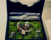 Engagement ring box diorama graveyard 'til death wedding **RESERVED for GP**