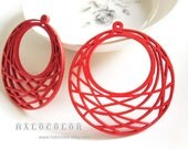 6 PCS - 48x51mm Pretty Red Round  Geonetry Wooden Charm/Pendant MH243 03