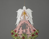 Holy Family Christmas Angel with Swarovski crystal in the middle of Metallic Star