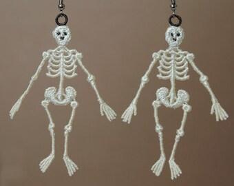 Glow in the Dark Skeleton Earrings, Lace Skeleton Earrings