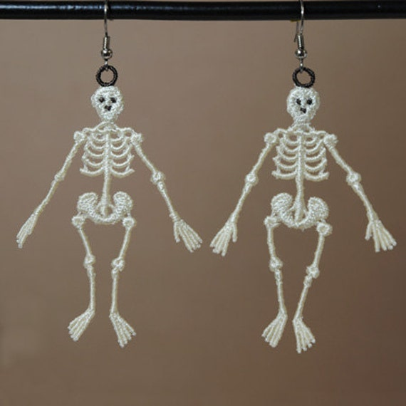 Glow in the Dark Skeleton Earrings, Lace Skeleton Earrings
