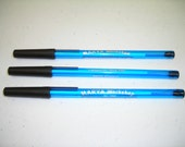 New! Personalized Blue Stick Pens with Black Trim & Silver Imprint -- Free Shipping