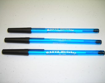 100 Personalized Blue Stick Pens with Black Trim & Silver Imprint -- Free Shipping