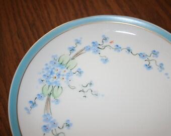 Vintage Hulschenreuther Gleb Bavaria Fine Bone China Plate Blue Floral Flowers Gold Trim
