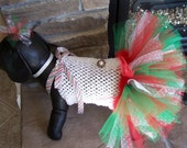 Christmas Dog TuTu Dress candy canes and snowflakes For SMALL dogs Hair bow included