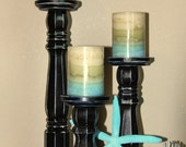 Distressed Wood Pillar Candle holders