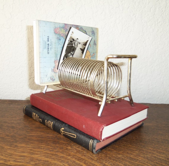 Reserved for Kelly....Vintage Metal Letter Holder Silver Spring