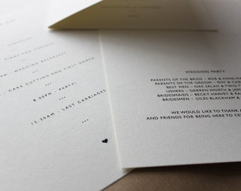 Orders of Service, Menus, Information Cards // Design // Wedding Stationery