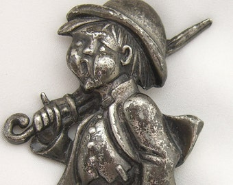 1950s Hummel Brooch The Merry Wanderer Boy with Umbrella Vintage Jewelry Pin