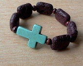 Side cross bracelet -  Brown - Lava Rocks, Howlite Cross and Chocolate Brown Beads-  Versatile, Stackable