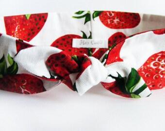 Strawberry Cotton Headband - Bow Red Headband
