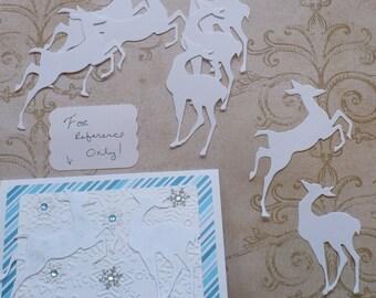 8 Tim Holtz Reindeer / Deer  Die Cuts Made from White Cardstock Winter Christmas Prancing
