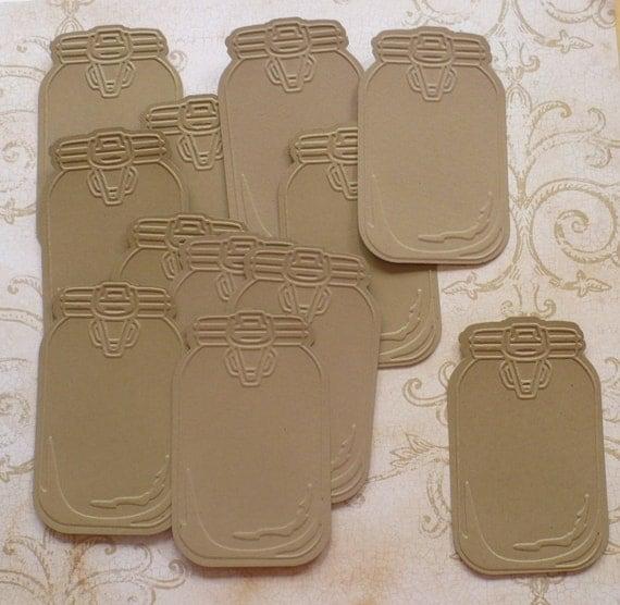 12 Pc Embossed Mason Jar Die Cuts Kraft By Sandylynnbscrapping
